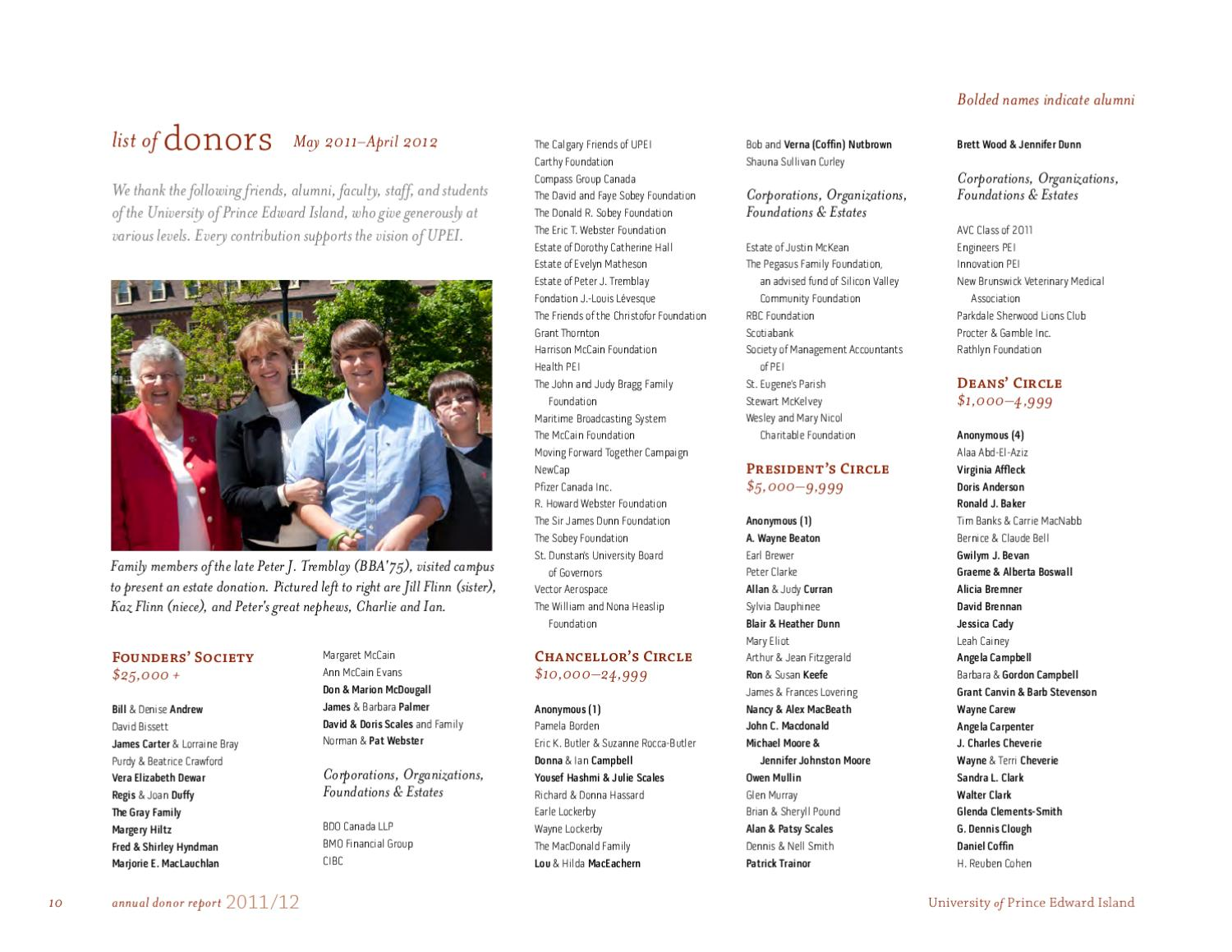 Upei Annual Donor Report 2011 12 By Upei Issuu