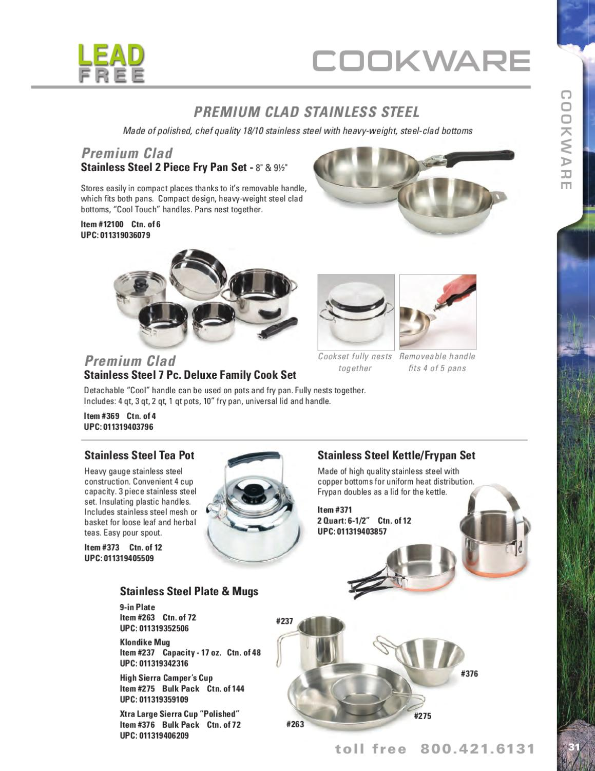 Stansport Premium Quality Stainless Steel 7 piece Deluxe Family Cookset