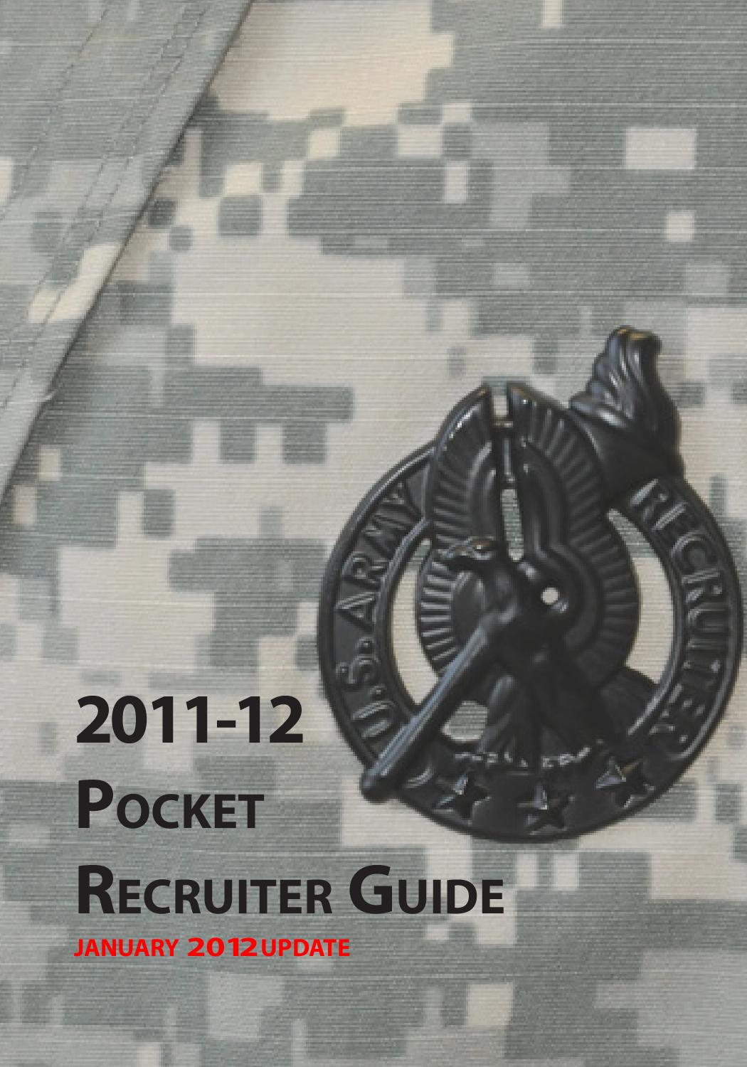 Pocket Recruiter Guide 2011-2012 by US Army Recruiting Command - issuu