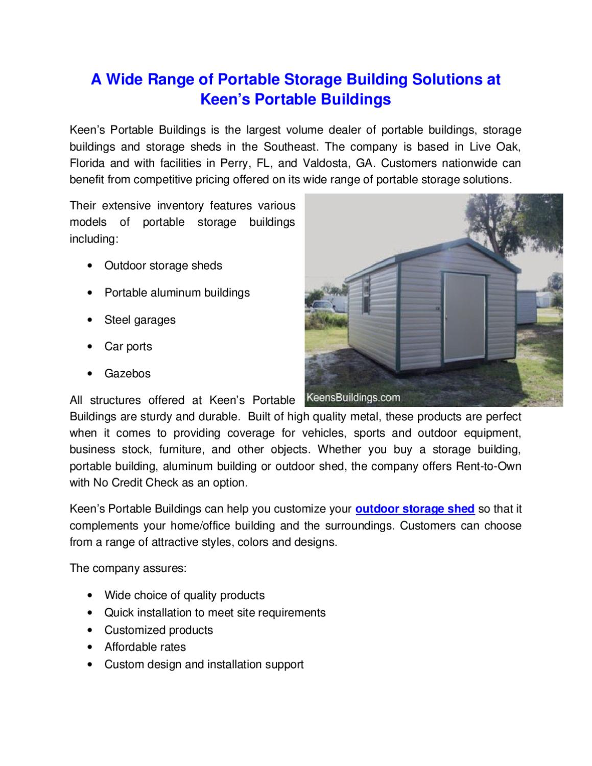 A Wide Range Of Portable Storage Building Solutions At