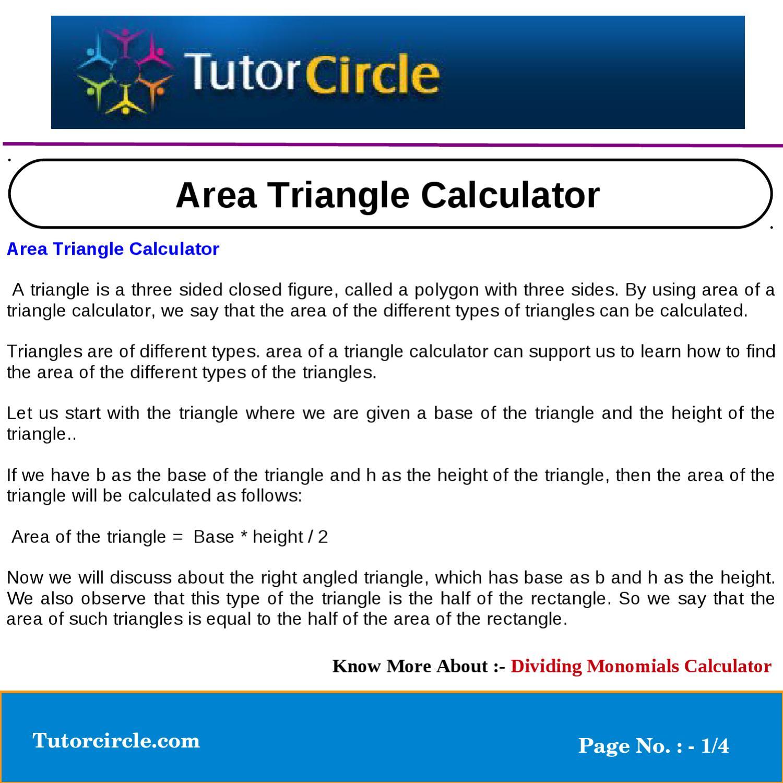 Area Triangle Calculator by tutorcircle team - issuu