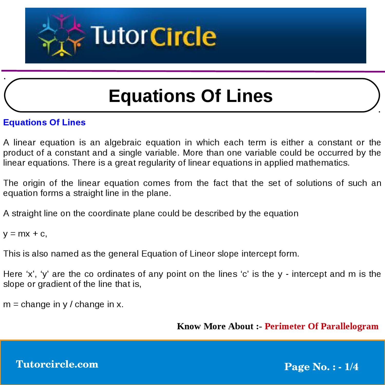 slope intercept form vs general form  Equations Of Lines by tutorcircle team - issuu