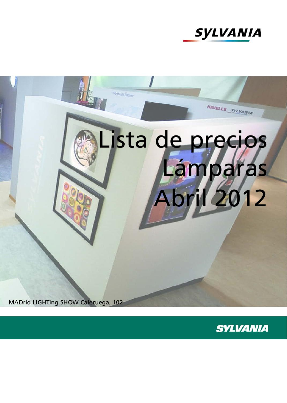 Lista de precios y cat logo de lamparas sylvania 2012 by - Precios de lamparas ...
