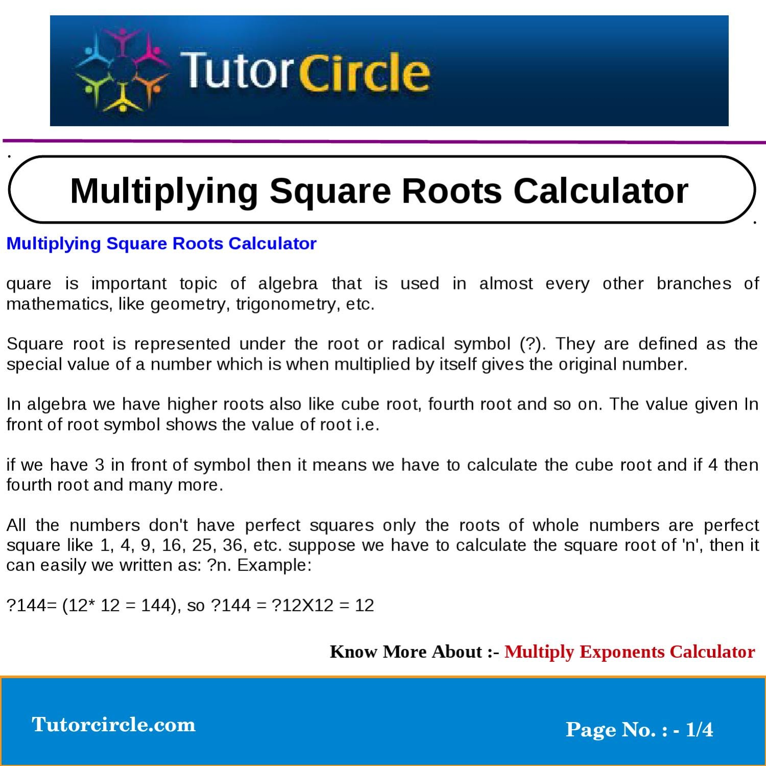 Multiplying Square Roots Calculator By Tutorcircle Team Issuu