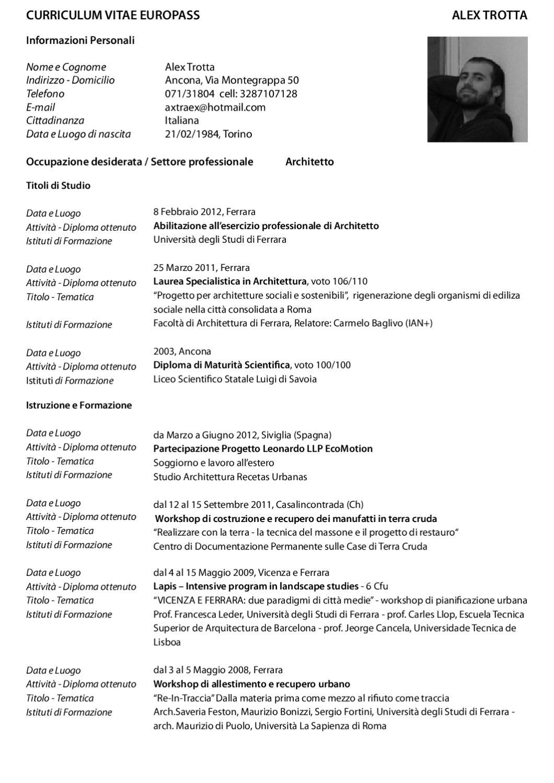 Studi Architettura Roma Lavoro curriculum vitae alex trotta by alex trotta - issuu