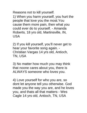 reasons not kill yourself