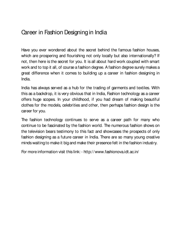 Career In Fashion Designing In India By Fashion Ova Issuu