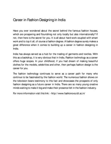 Career In Fashion Designing In India By Fashion Ova Issuu