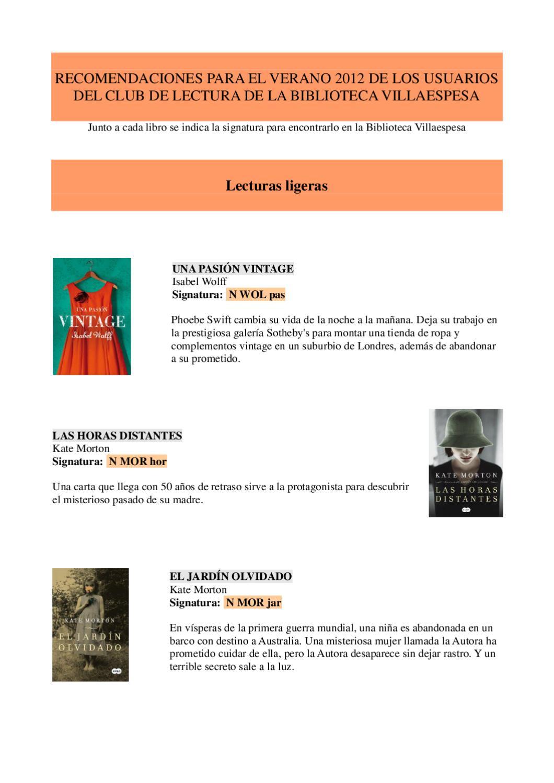 Recomendaciones para el verano by biblioteca villaespesa ...
