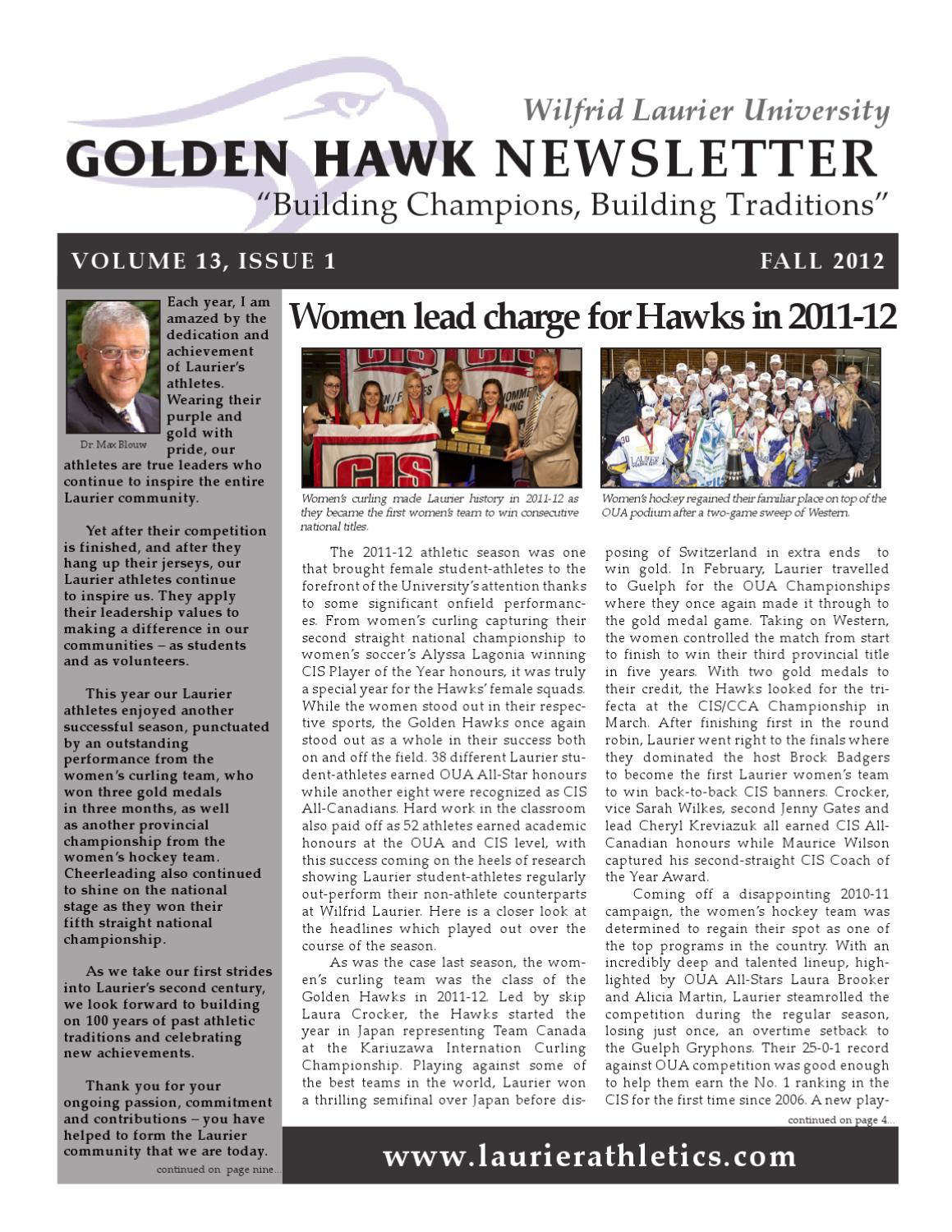 Fall 2012 Golden Hawk Newsletter by Wilfrid Laurier\'s Department of ...