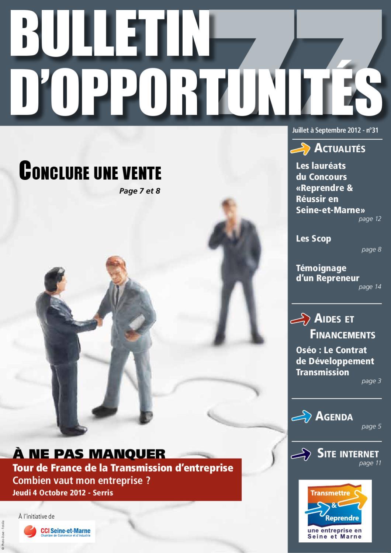 Bulletin d 39 opportunit s de reprise d 39 entreprises juillet - Chambre de commerce et d industrie de seine et marne ...