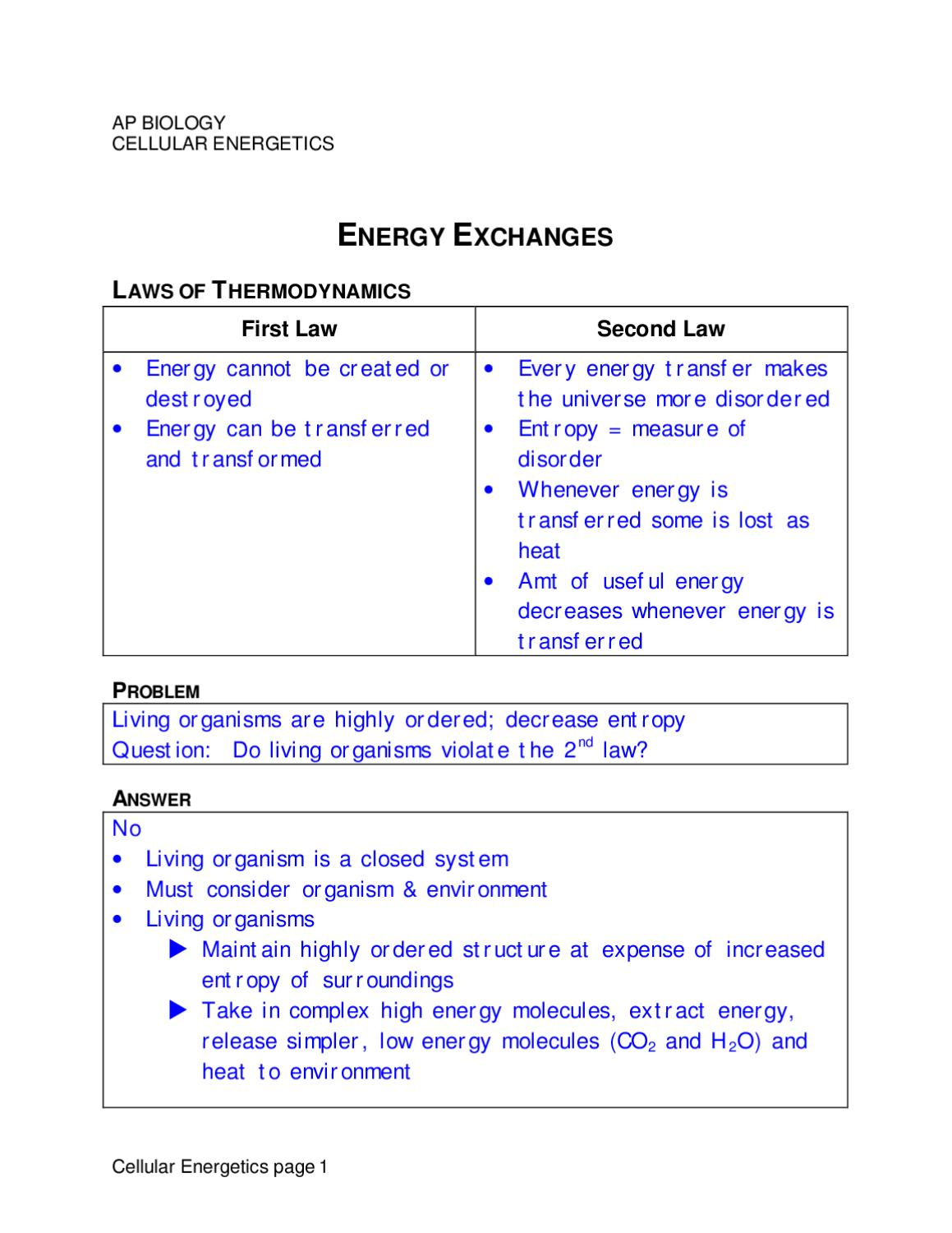 energy transfer in living organisms