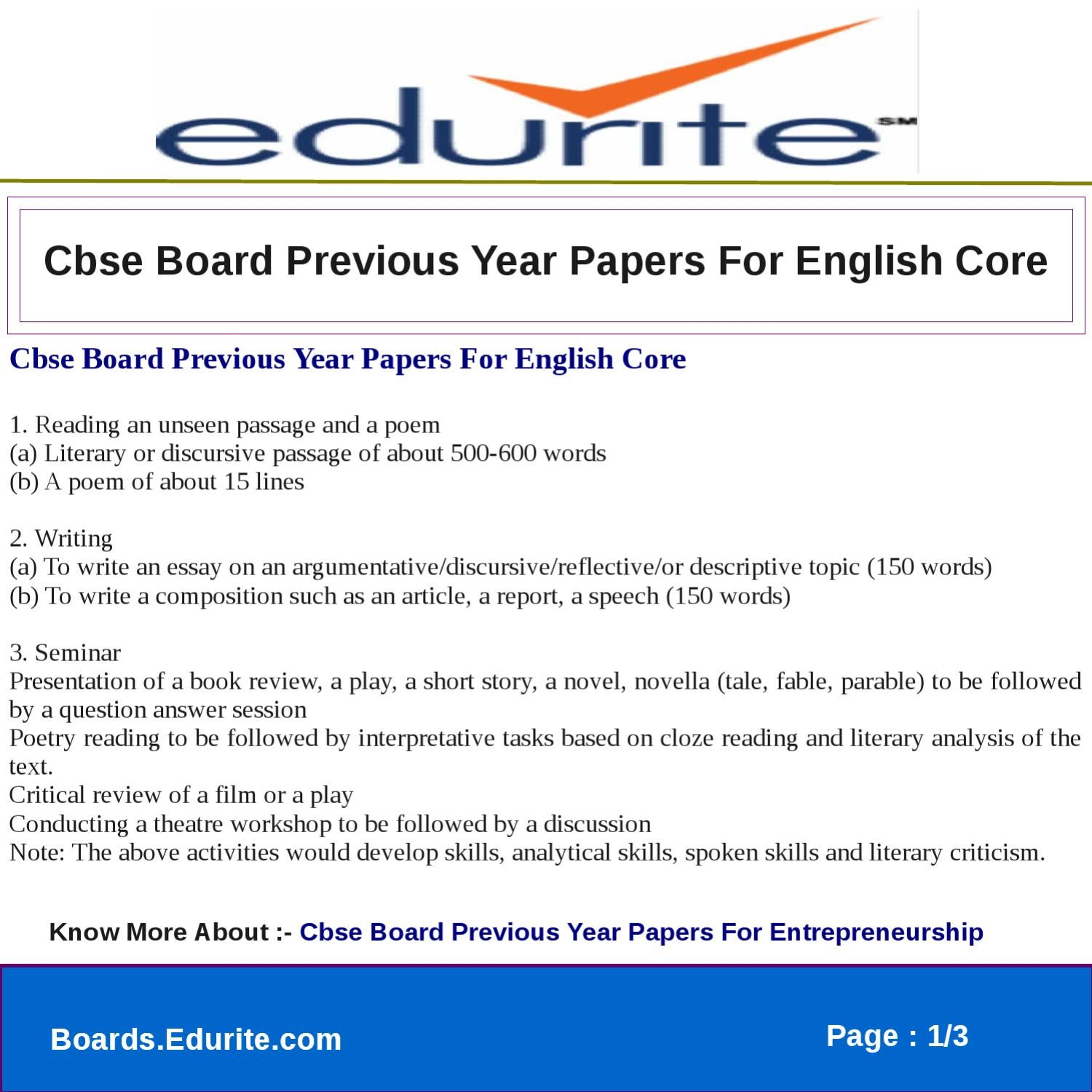 Cbse Board Previous Year Papers For English Core by deepak sharma