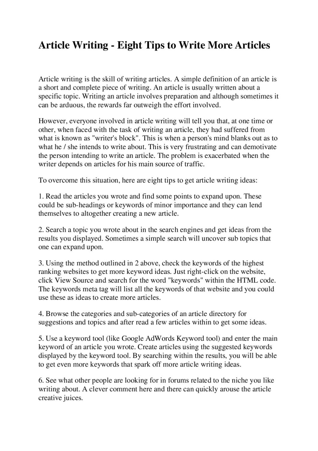 article writing eight tips to write more articles by joseph  article writing eight tips to write more articles by joseph lautier issuu