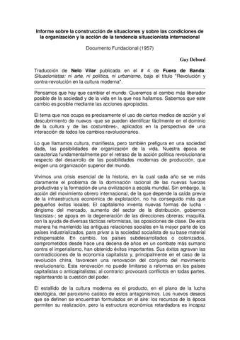 Informe Sobre La Construccion De Situaciones Guy Debord By
