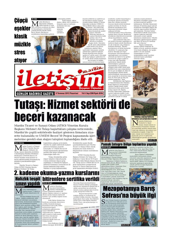 9 Temmuz 2012 Pazartesi Gazete Sayfalari By Mardin Iletisim