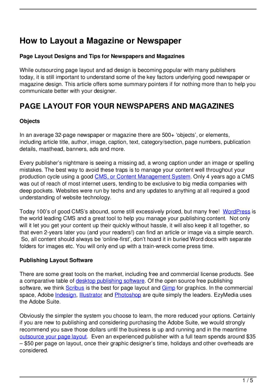 How to Layout a Magazine or Newspaper by EzyMedia - issuu