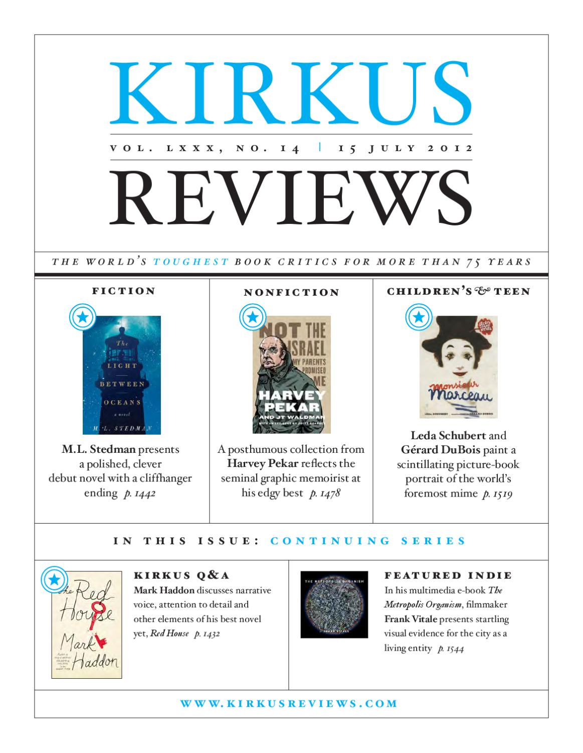 kirkus review Blurb: kirkus reviews is a long established name in the publishing industry when did the company begin accepting self-published titles karen schechner: kirkus' indie program started in 2005 when the editors wanted to expand their coverage to include the fastest growing segment in the book industry—self-publishing to meet scale, selection and financing challenges, kirkus created a review.