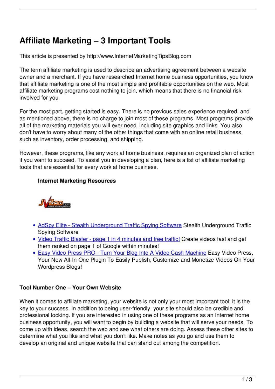 Affiliate marketing 8211 3 important tools by steve ng issuu platinumwayz