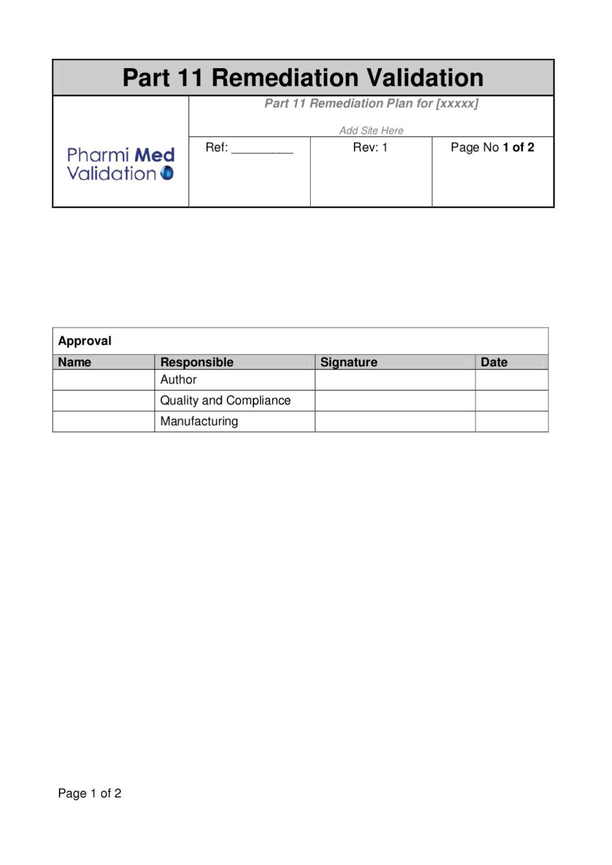 Part 11 Remediation Plan Template Sample By Pharmi Med Ltd Issuu