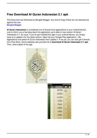 Free Download Al Quran Indonesian 2 1 apk by Bayu Nugraha