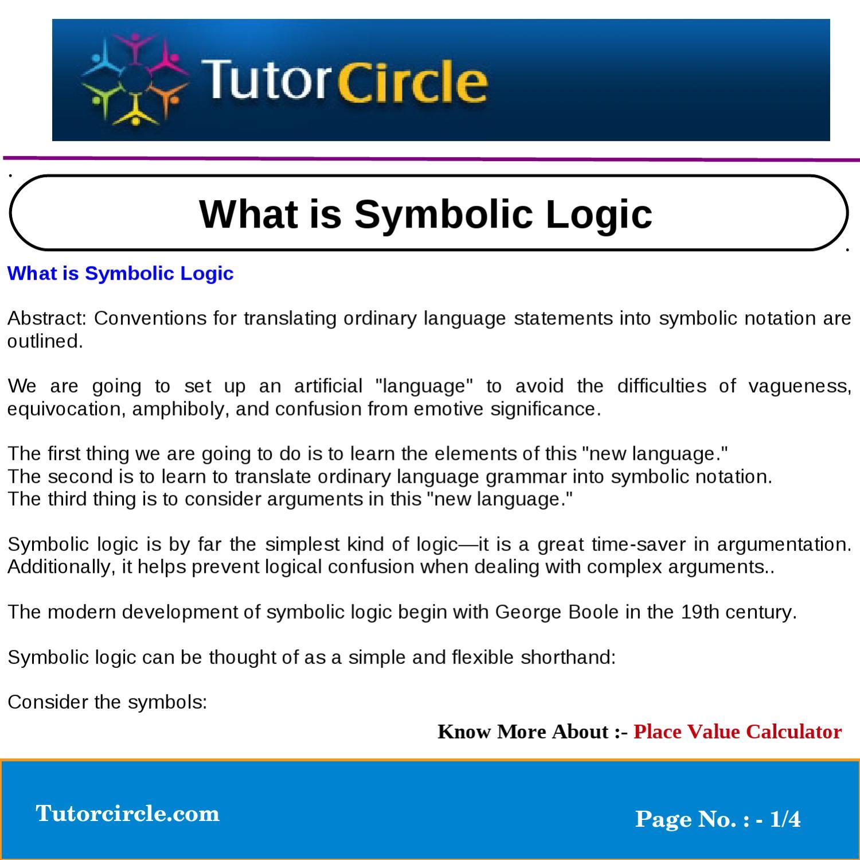 What Is Symbolic Logic By Tutorcircle Team Issuu