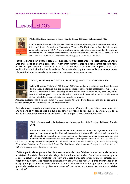 Club de Lectura ha leído... by Biblioteca Pública de Salamanca Casa ...