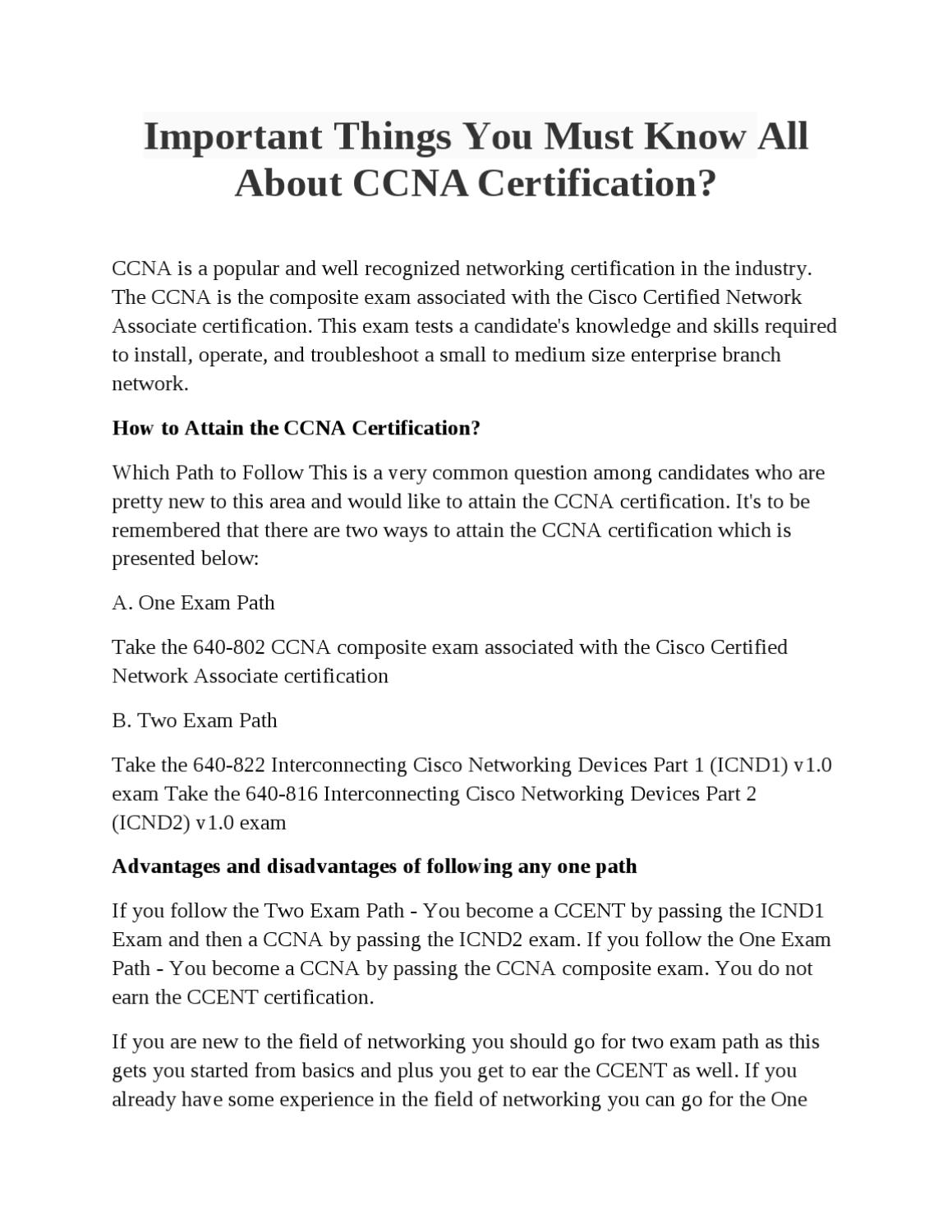 Important Things You Must Know All About Ccna Certification By