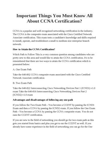 Important Things You Must Know All About CCNA Certification? by ...