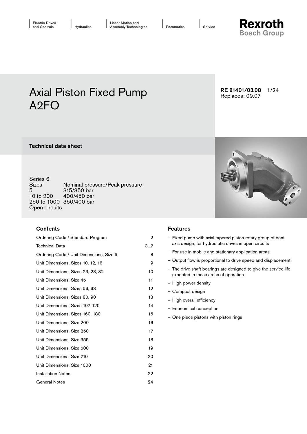 Specifications Rexroth Axial Fixed Piston Pump A2FO by MH