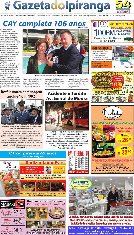 3a453a76dc Gazeta do Ipiranga - Edição de 13 07 2012 by Casé Oliveira - issuu