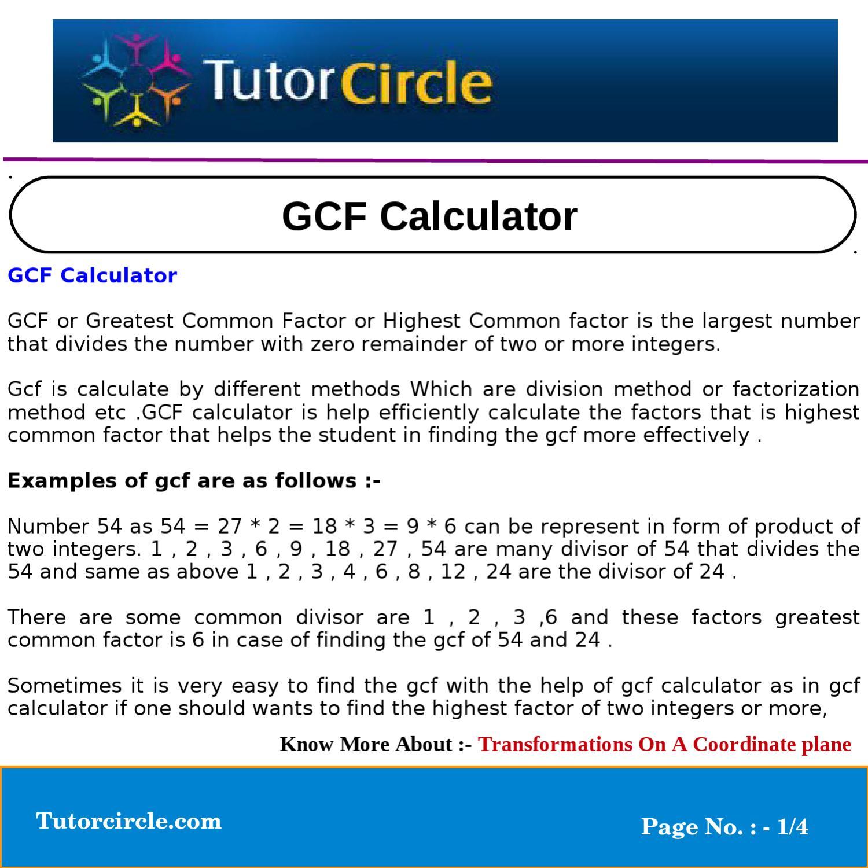 GCF Calculator by tutorcircle team - issuu