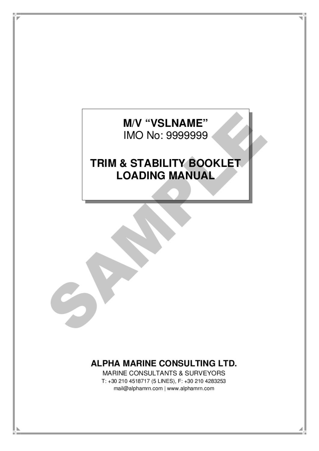 TRIM & STABILITY BOOKLET - LOADING MANUAL SAMPLE by Alpha Marine
