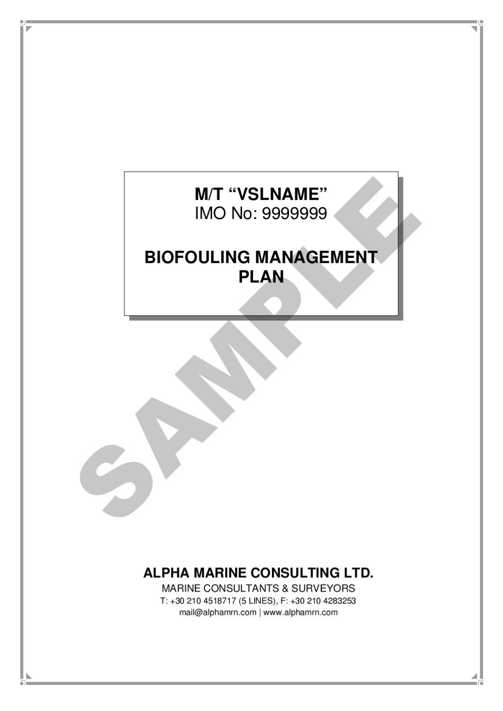 Biofouling management plan.