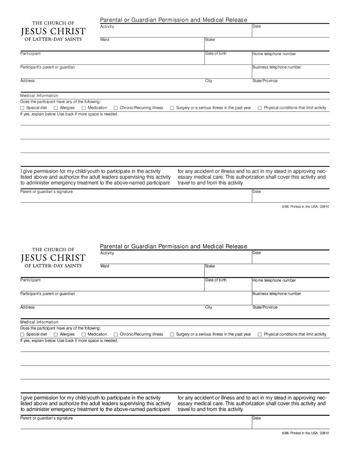 lds youth activity permission slip by cynthia woodruff issuu .