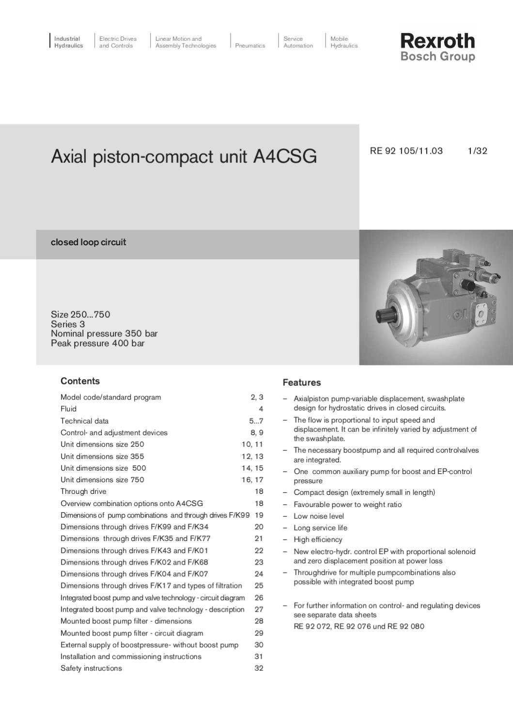 Specification Rexroth Piston Compact Unit A4CSG by MH