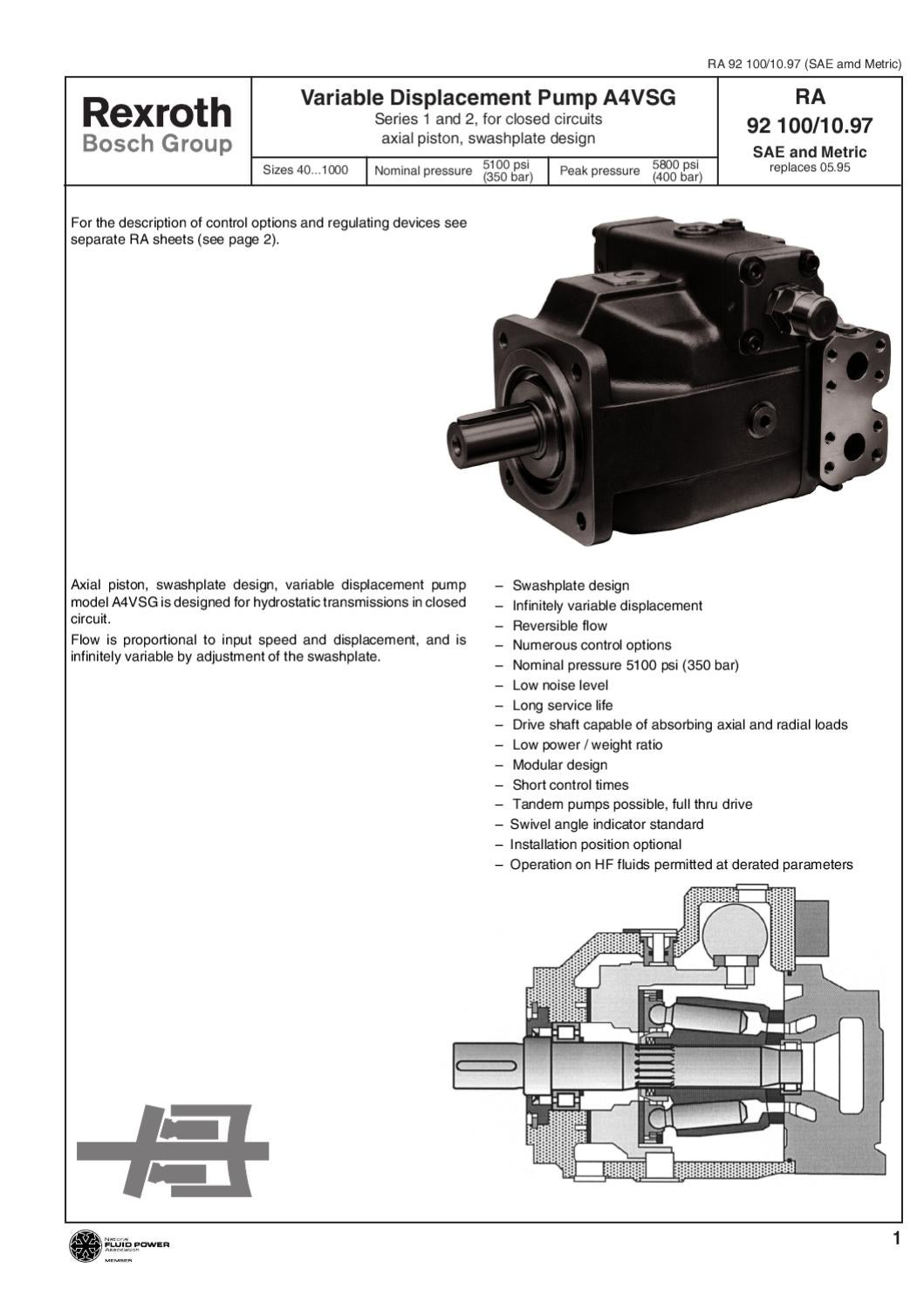 Specifications Rexroth Variable Displacement Pump A4VSG by MH Hydraulics -  issuu