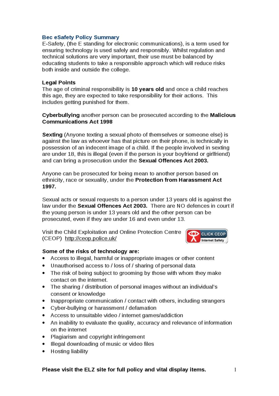 Bec eSafety Policy Summary by Jane Glasson - issuu