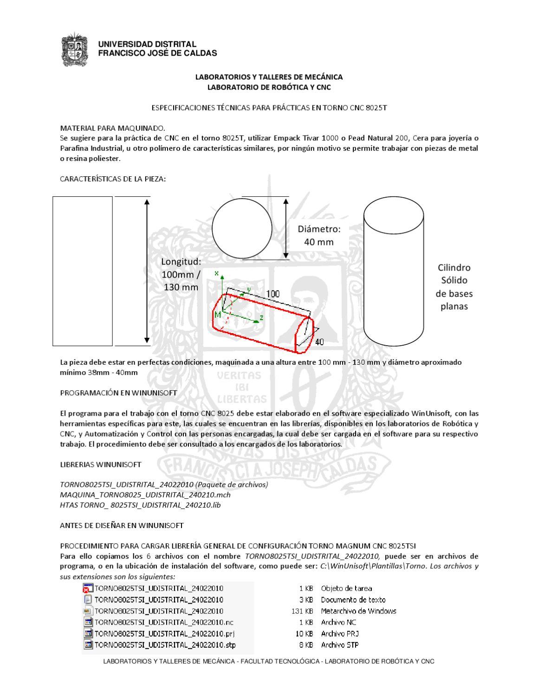 PROCEDIMIENTO PRACTICAS TORNO CNC by LABORATORIOS Y TALLERES DE ...