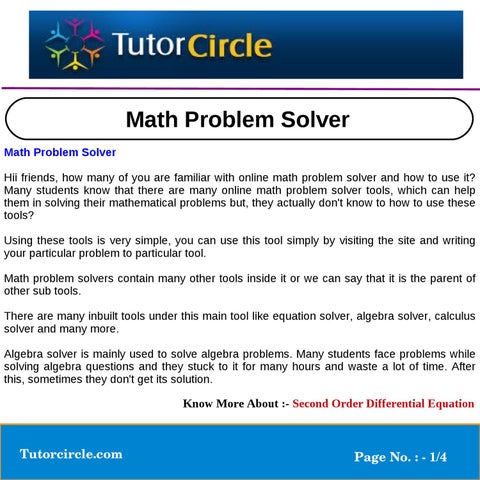 math problem solver by tutorcircle team issuu math problem solver math problem solver hii friends how many of you are familiar online math problem solver and how to use it