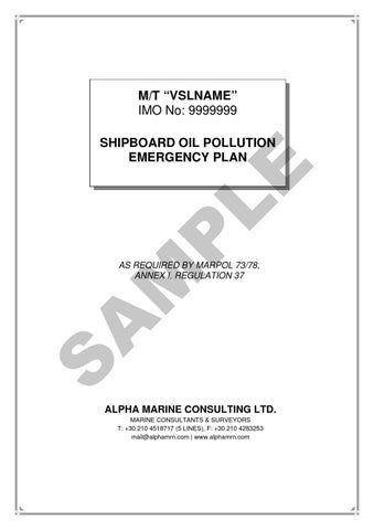 Shipboard Oil Pollution Emergency Plan (SOPEP) by Alpha ...