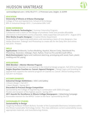 zeigler il 62999 education university of illinois at urbana champaign college of fine and applied arts school of art design bfa in industrial - Industrial Designer Resume