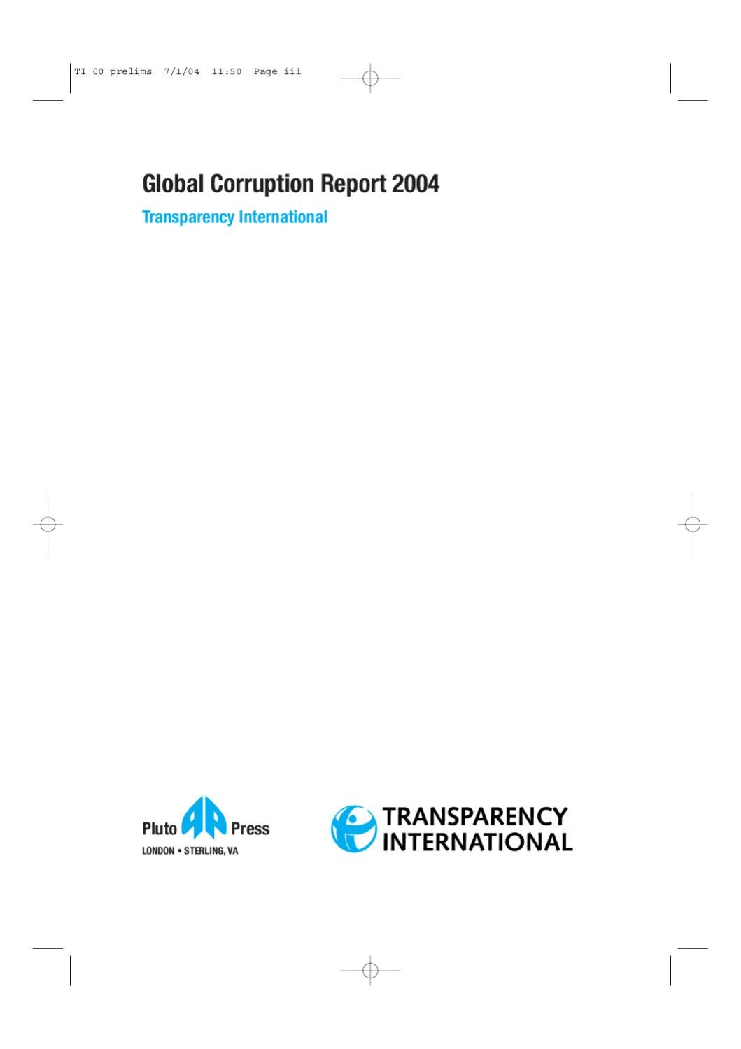 Global Corruption Report 2004 Political By Transparency Sterling Fuse Box 2003 International Issuu