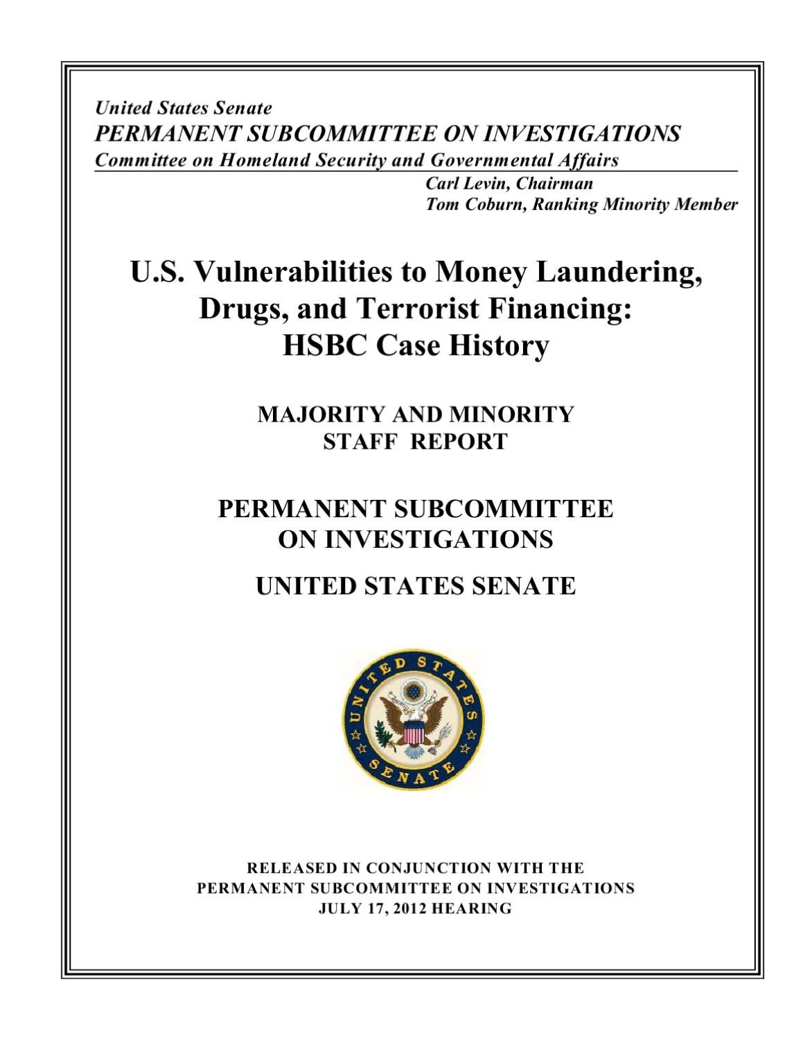 U S  Vulnerabilities to Money Laundering, Drugs, and