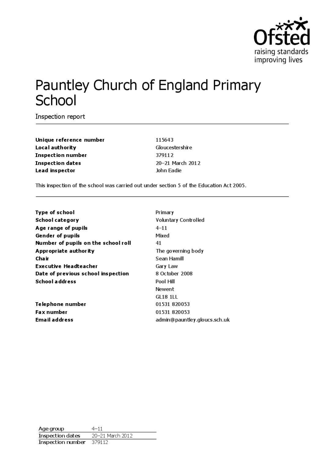 Ofsted Inspection 2012 by Pauntley School - Issuu