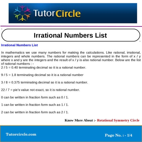 List Of Whole Numbers