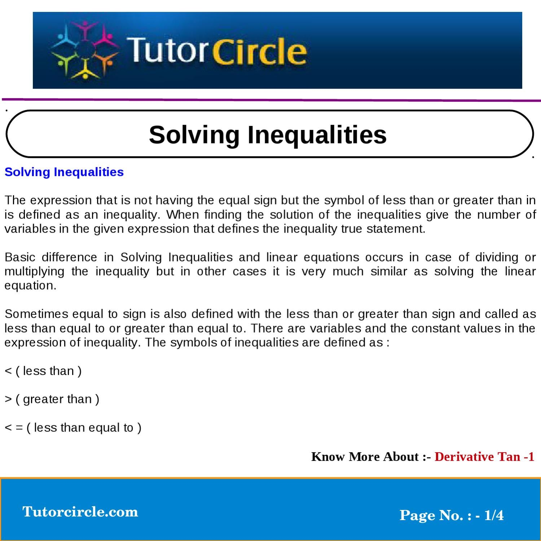 Solving Inequalities By Tutorcircle Team Issuu
