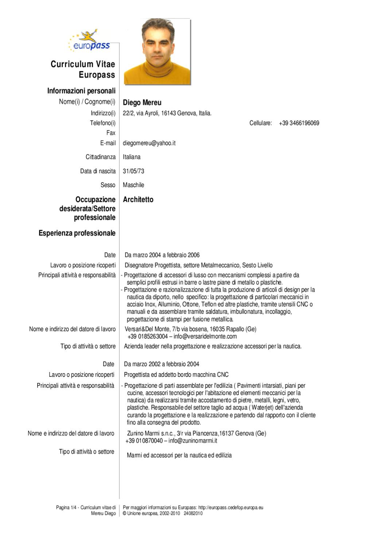 00 Curriculum Vitae Italiano By Diego Mereu Issuu