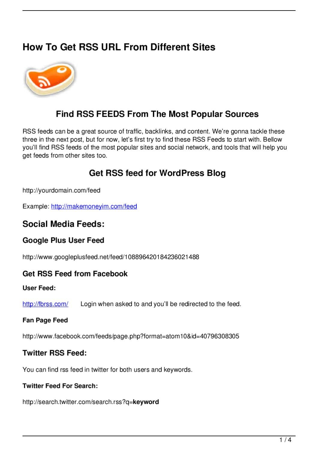 How To Get RSS URL From Different Sites by Noam Tobi - issuu