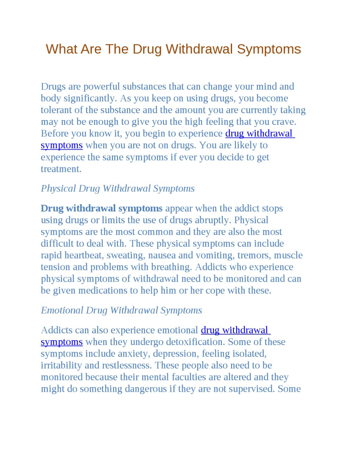 What Are the Drug Withdrawal Symptoms by Sally Middle - issuu